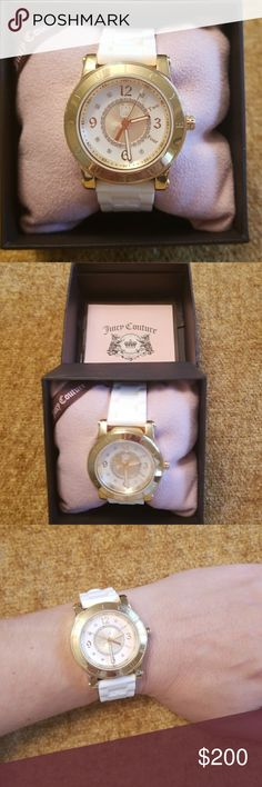 🌹Nib Women's Watch Logo Juicy Couture Was $230🌹 🌹 Women's Watch White Plether band with adjustable strap. The Interior of The Watch Cystals in the inside Gold Around The Face Of The Watch, Logos Inside The Face, On The Gold Band!!!🌹 So Beautiful! It's In My Box At My Bank. Brand New In Box Comes With Pillow & Warranty As Well. BTW MY PAGE IS SET IN A SPECIFIC WAY, IF I ADD A PHOTO I MUST REARRANGE THE OTHER 1,000 OF MY THINGS-CANT HELP THAT, ITS JUST HOW POSTMARK WORKS. MAKE ME AN…