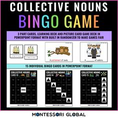 This is a Collective Noun Bingo Game that can be used for remote learning. It is also printable for the classroom environment. Included is the following:Learning deck to prepare students for playing the gamePicture card deck for the caller with a custom coded randomizer to ensure that every card has...
