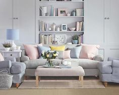 soft pastels (via Ideal Home Magazine) I really like how the couch looks like, but I would prefer it if the walls were more bright. Maybe the yellow of the pillow.