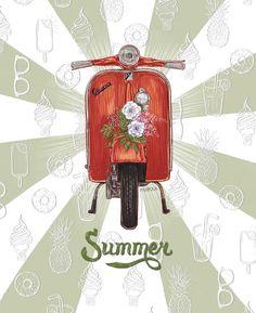 postcards: summer, journey, flowers, vespa and beetle by Daria Pankra, via Behance