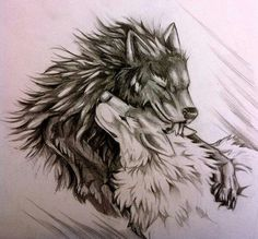 Fell again. And his imaginary white wolf mate. He's crazy XD ---- Open for commissions. Fell and the White Wolf Wolf Tattoos, Body Art Tattoos, Tattoo Drawings, Celtic Tattoos, Animal Tattoos, Two Wolves Tattoo, Tier Wolf, Wolf Sketch, Wolf Artwork