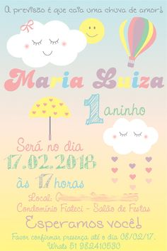 Arte Convite Aniversário Chuva Candy Color (digital) Baby Candy, 2nd Baby Showers, Baby Birthday, Candy Colors, Party, 1st Year, Samara, Inspiration, Clothes