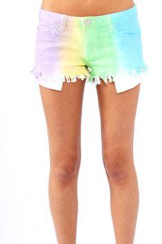 Reverse Sunburst Cut Off Shorts