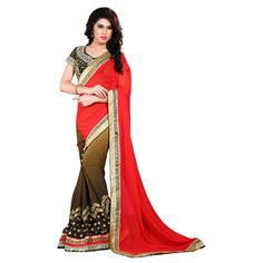 Designer Nirvana Red & Brown Embroidery Georgette Saree with Blouse at just Rs.1799/- on www.vendorvilla.com. Cash on Delivery, Easy Returns, Lowest Price.