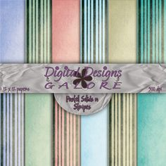 Pastel Solids n Stripes Digital Paper Pack
