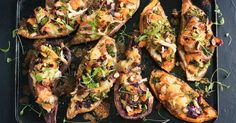For an easy, cheesy, low-calorie dinner, try these stuffed baked sweet potatoes.
