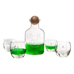 Cathy's Concepts Lucky You Horseshoe Decanter & Set Of Four Glasses (1 300 ZAR) ❤ liked on Polyvore featuring home, kitchen & dining, drinkware, st patricks day, engraved decanter, engraved whiskey glasses and engraved decanter set