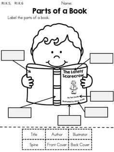 Parts of a Book >> Cut and paste the labels >> Part of the Autumn Kindergarten Language Arts Worksheets Packet by Megan Lewis Language Arts Worksheets, Kindergarten Language Arts, Kindergarten Worksheets, Kindergarten Classroom, Kindergarten Library Lessons, Preschool Bulletin, Art Worksheets, Printable Worksheets, Printables