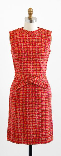 vintage 1960s orange + pink tweed mod shift dress | Mad Men style | http://www.rococovintage.com