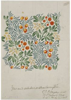 Beautiful working repeat - Textile design for Strawberry Tree, by C. England, Copyright © Victoria and Albert Museum, London / V Images -- All rights reserved. Motifs Textiles, Textile Patterns, Textile Prints, Textile Design, Fabric Design, Flower Patterns, Print Patterns, Arts And Crafts Movement, Surface Pattern Design