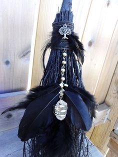 Raven Totem Besom Custom Order Altar Besom by WayOfTheCauldron Raven Totem, Celtic, Pagan Witchcraft, Wiccan Crafts, Witch Broom, Handfasting, Animal Totems, Book Of Shadows, Occult