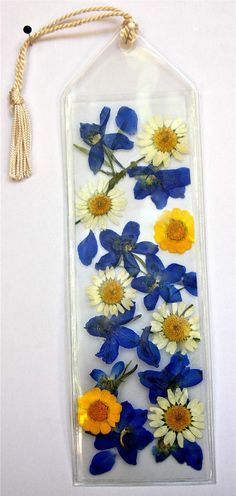 Pressed Flower Bookmark Yellow and Blue  Kanary's View