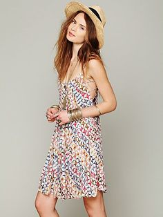 Free People FP ONE Imperial Palm Pintuck Dress  beach cover up