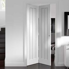Direct Doors supply a wide range of high quality Internal Bi folding Doors & Internal BiFold Doors with Glass at affordable prices, ideal for fitting where space is at a premium. Shop Now Mirror Closet Doors, Wardrobe Doors, Bedroom Doors, Wardrobe Storage, Concertina Doors Internal, Internal Folding Doors, Space Saving Doors, Door Fittings, Traditional Doors