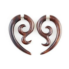 "Fake Gauge Earrings - Wood Earrings Fake Piercing - Wood Spiral Earrings ""Datura Flower"" Tribal Earrings - Fake Plugs Fake Gauges by NoHolesBarred on Etsy Fake Gauge Earrings, Tribal Earrings, Wood Earrings, Flower Earrings, Faux Gauges, Fake Plugs, Beaded Jewelry, Unique Jewelry, Handmade Jewelry"
