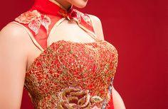 Mandarin collar cheongsam inspired golden thread embroidery