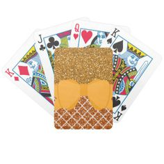 Shades of Lemon Gold Bicycle Poker Deck This design features two lovely glittery shades in a golden yellow with ribbon and a bow of refreshing lemon.