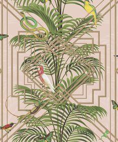 Birds tropical palm trees wallpaper pink metallic gold green decor tree and white . Tree Wallpaper Pink, Bathroom Wallpaper Geometric, Unusual Wallpaper, Snake Wallpaper, Tree Wallpaper Iphone, Animal Print Wallpaper, Art Deco Wallpaper, Tropical Wallpaper, Metallic Wallpaper