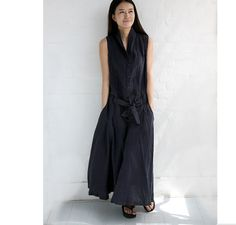 Maxi StandUP Vcollar Linen Dresses Long by ttlovewomenclothing, $128.00