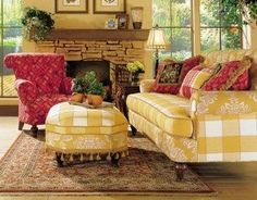 I own this yellow sofa and rooster pillows... L O V E it!!!!! Living Room Designs, French Country Sofa, French Country Living Room, Cottage Art, Cottage Living, Cottage Style, French Cottage, Yellow Cottage, Romantic Cottage