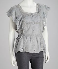 Take a look at this Gray Embroidered Lace Button-Up Top - Women by SR Fashions on #zulily today!
