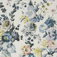 This fabric that you pulled is very pretty- delft blue, navy, grey, black, pink, peach, yellow  seraphina - delft fabric | Designers Guild