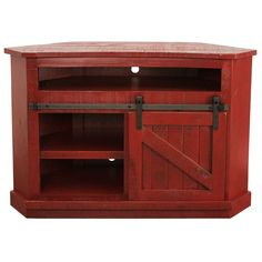 Solid Wood Tv Stand, Coat Paint, Red Accessories, Media Storage, Distressed Painting, Tv Cabinets, Entertainment Center, Types Of Wood, Tvs
