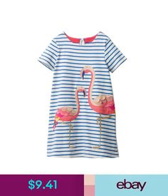Girls' Clothing (Newborn-5T) Flamingo Girls Summer 100% Cotton Animal Print Dresses Short Sleeves Tunic Dress #ebay #Fashion