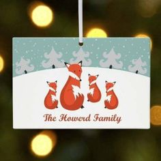 Personalized Fox Family in Snow Christmas Ornament, Black