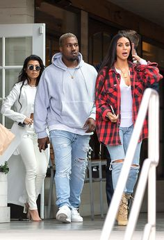 Kanye West, Kim Kardashian & Kourtney Kardashain from The Big Picture  The Keeping up with the Kardashiansclan are spotted leavingHugo's restaurant in Agoura Hills while shooting scenes for their upcoming season.