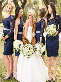 Short Navy Blue Bridesmaid Dress, One sleeve bridesmaid dress, bridesmaid dress with lace,Tight bridesmaid dress PD210706