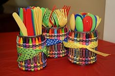 These crayon utensil holders are such a great idea for an art party rainbow party back-to-school or just to make your kids craft area cute! Theyre made using empty soup cans (upcycle alert!) and a large box of crayons. You could put utensils in them . Crayon Birthday Parties, Elmo Birthday, First Birthday Parties, Birthday Party Themes, First Birthdays, Birthday Ideas, Rainbow Birthday, Dinosaur Birthday, Making Crayons