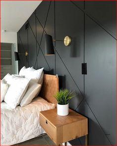 Home Bedroom, Modern Bedroom, Bedroom Decor, Eclectic Bedrooms, Contemporary Bedroom, Wallpaper Headboard, Paint Wallpaper, Black Wallpaper Bedroom, Feature Wall Bedroom