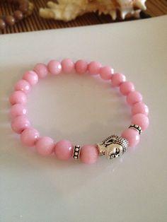 Pink Jade Buddha Bracelet on Etsy, $26.00
