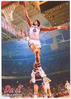 Julius Erving Dr J Slam Dunk Poster 24x34 – BananaRoad Sport Photography a4f6002a3
