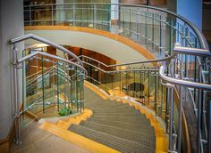A glass or stainless steel staircase will gain attention as a sense of modern sophistication and style to your home or office building. Contemporary Stairs, Modern Staircase, Staircase Design, Stainless Steel Staircase, Glass Stairs, Glass Balustrade, Custom Glass, Wood And Metal, Building