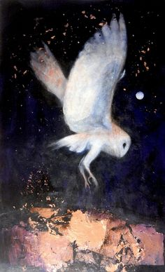 """CATHERINE HYDE: """"Through the Dark Night"""" acrylic painting with copper leaf"""