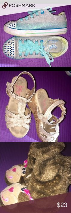 "SKECHERS size 12 GIRLS (3 pairs total) 3 pairs of size 12 Girls Shoes: 1)Skechers ""Twinkle Toes"" Blue light-up Sneakers. 2)Gold w/ Cork Wedge Sandals, & 3)Monkey Slipper Boots. All 3 pairs are in EXCELLENT Shape. Skechers Shoes Sneakers"