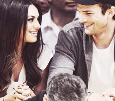 Mila Kunis and Ashton Kutcher. So cute!!! Jackie and Kelso! ;p