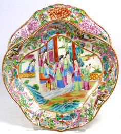 mandarin period design images | 420 - HAND PAINTED CHINESE PORCELAIN SHRIMP DISH