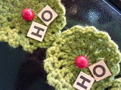 CROCHETED HOLIDAY MAGNETS Set of 4 Vintage by VelveteenHabbit, $10.00