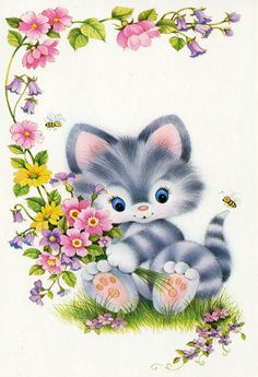 1980s Birthday card cat with flowers