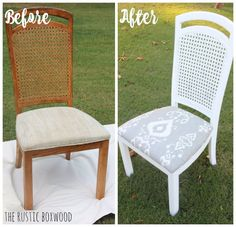How to Makeover Your Outdated Cane Chairs. http://www.hometalk.com/19980067/diy-thrifted-and-distressed-cane-chair-makeover?se=fol_new-20160814-1&date=20160814&slg=d2f2de7cea9038a5735e2432cf54b9d8-1110481