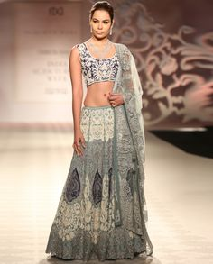 Embellished Blue Gray Lengha Set - Engagement - Occassion - Wedding