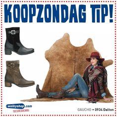 #Wolkyshop KOOPZONDAG. Kom jij aanstaande zondag langs om te shoppen? Onze collega's in de winkel staan weer voor je klaar om je te adviseren. De #shoptip van deze week is de 0934 Dalton, stoere maar toch vrouwelijke halfhoge laars uit de Gaucho collectie!  #Enschede #Haverstraatpassage