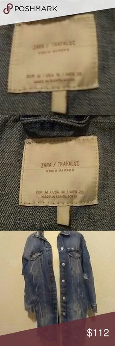 Zara Trafaluc Long Barcelona Jeans Jacket Med Rare jeans jacket by Zara. They have a few long jeans jackets, but this is different in that there is white writing regarding travel on the back and a Barcelona luggage stamp. May be from the Mediterranean area.  Gently used. zara Jackets & Coats Jean Jackets