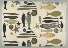 Fish, first half of 20th century America, New York, 20th century plain weave linen, block printed, Overall - h:87.63 w:125.73 cm