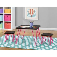Altra Kids Pink Retro Style 3-piece Table and Stool Set