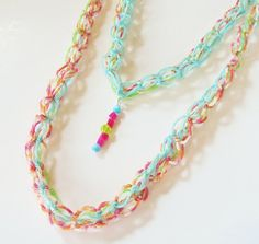 Spring Multi-Strand Knit Necklace Scarf with Beaded Pendant - aqua, pink, lime green & orange fashion accessory