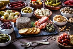 Tapas on rustic wooden table
